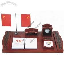 Desk Calendar With Stand Office Desktop Set With Two Flag Stand Clock Pen Holder Name