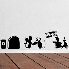 online get cheap color art wallpaper aliexpress com alibaba group 3d funny mouse hole pizza wall stickers for kids rooms decals vinyl wall art decoration home
