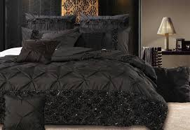 king queen samania black quilt cover set luxury black bedding
