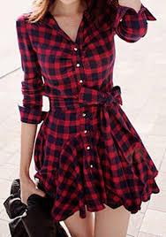 red plaid tartan vintage chess single breasted ruffle belt wavy