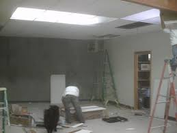 Drop Ceiling Installation by T Bar Suspended Drop Ceilings Installed Drywall Patch Repair