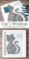wisdom cat coloring page u0026 art print hattifant