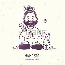 character positive man with cute cat in greeting pose namaste