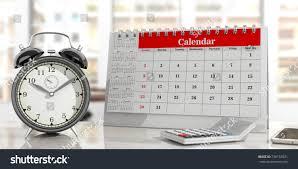 Desk Alarm Clock Deadlines Concept Desk Calendar Alarm Clock Stock Illustration