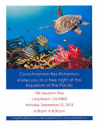 invites you or invite you aquarium of the pacific invitation from councilmember richardson