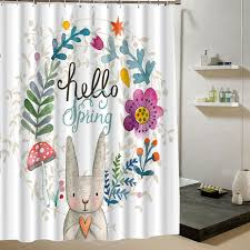 Animal Shower Curtains Animal Shower Curtain Rabbit Floral Design Polyster Fabric