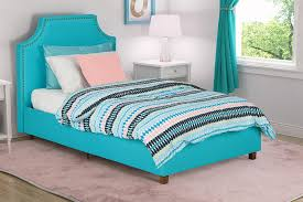 amazon com dhp melita linen upholstered bed twin teal kitchen