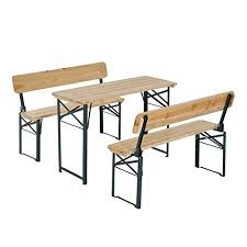Folding Picnic Table With Benches Outsunny 4 U0027 Wooden Folding Picnic Table Set With Benches Pop Up