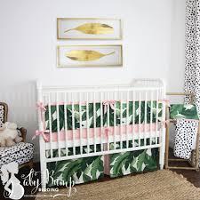 Crib Bed Set Leaf Print Blush Pink Baby Crib Bedding Set