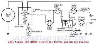 2005 suzuki gsx r1000 starter wiring circuit system and