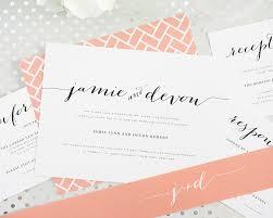 peach wedding invitations with chic typography u2013 wedding invitations
