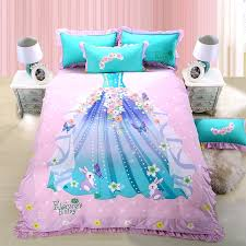 Personalized Girls Bedding by Girls Pale Pink Turquoise And Blue Princess Dress Print Stylish
