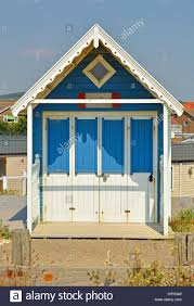 colourful painted beach hut at lancing near brighton in west