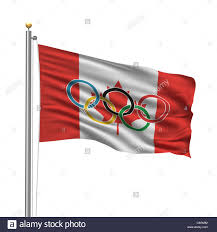 Flag Of Canada Flag Of Canada With Olympic Rings Stock Photo Royalty Free Image