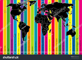 Map Of World Time Zones Background World Map Colorful Time Zones Stock Vector 280915991