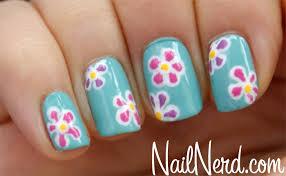 nail nerd nail art for nerds flowers on blue nails