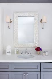 Polished Nickel Bathroom Mirrors by Rectangular Cream Mirror With Gray Single Washstand Transitional