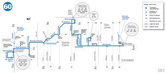 san jose light rail map 60 bus route vta sf bay transit