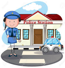 policewoman working at police station illustration royalty free