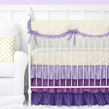 Purple Nursery Bedding Sets Furniture Purple And Gold Dot Ruffle Crib Bedding Set 22 1