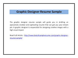 Graphic Designer Resume Samples by Graphic Designer Resume Sample Pdf
