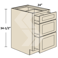 3db12 Freeport Maple Vanilla Drawer Base Cabinet 3 Drawer