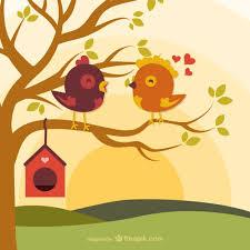 imagenes animadas sobre amor pájaros del amor de dibujos animados en la rama descargar vectores