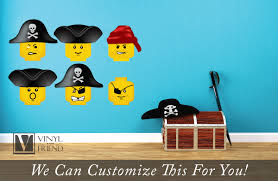 Pirate Room Decor Brick Builder Minifig Pirate Faces Wall Decor Vinyl Decal Digital