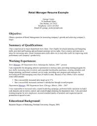 Store Manager Job Description Resume by Retail Sales Resume Store Manager In Construction Company Example