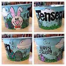 painted easter buckets 5 quart painted easter by megdoodles on etsy for the