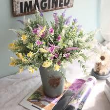 fleur artificielle mariage diy pourpre lavande sec fleur artificielle heads partie de mariage