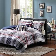 Plaid Bedding Set Boys Blue Red Plaid Comforter Set 5 Piece Full Queen Size Bedding