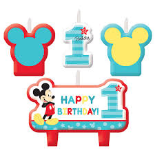 mickey mouse 1st birthday american greetings mickey mouse 1st birthday candles 4 count ebay