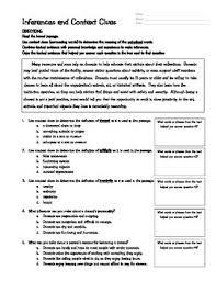 context clues and inferences worksheet by kim barker tpt