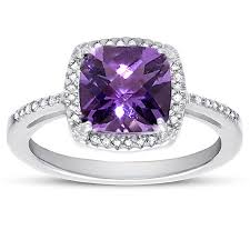 silver amethyst rings images 2 60 carat cushion cut amethyst and diamond halo cocktail ring in jpg