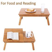 lap tables for eating songmics bamboo lap desk adjustable breakfast serving bed tray
