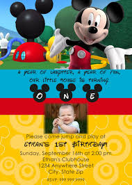 Mickey Mouse Invitation Cards Mickey Mouse Clubhouse 1st Birthday Invitations Kawaiitheo Com