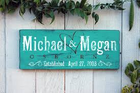 monogrammed wedding gifts personalized family established sign rustic and distressed wood