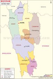 India Map Blank With States by Mizoram Map Districts In Mizoram