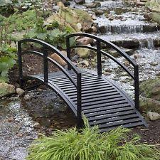 Backyard Bridge Outdoor Garden Bridge Metal 8ft Backyard Decor Walkway Black Pond