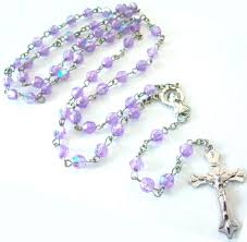 purple rosary womens beaded chain rosary necklace cross lt purple 28