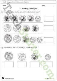 money and financial mathematics worksheets year 2 teaching