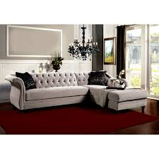 furniture l shaped grey tufted sofa for luxury living room