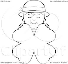 cartoon clipart of a black and white child leprechaun boy behind a