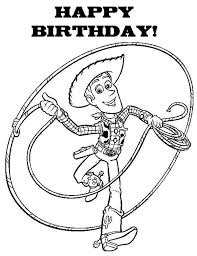 happy birthday to all say woddy in toy story coloring page