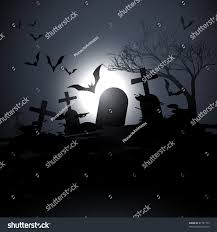 halloween graveyard background vector scary graveyard background flying bats stock vector