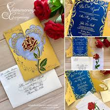 Library Card Invitation Beauty And The Beast Inspired Wedding Invitation Laser Rose And