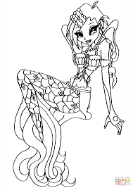 winx club mermaid tecna coloring page free printable coloring pages