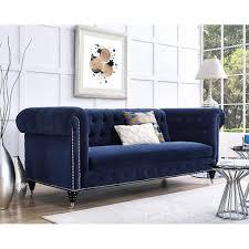 Traditional Fabric Sofas Hanny Sofa Navy Blue Velvet Tov Furniture Modern Manhattan