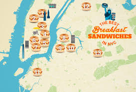New York City Zip Codes Map by Best Breakfast Sandwiches In Nyc Map Thrillist